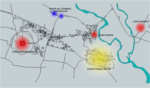 Lokasi Dusun Tingal dari Candi Borobudur